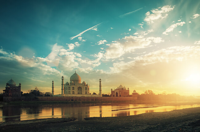 Taj Mahal in Agra, India at sunset