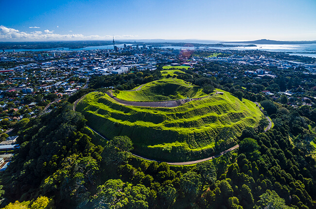 Aerial view of Mt. Eden, Auckland / New Zealand