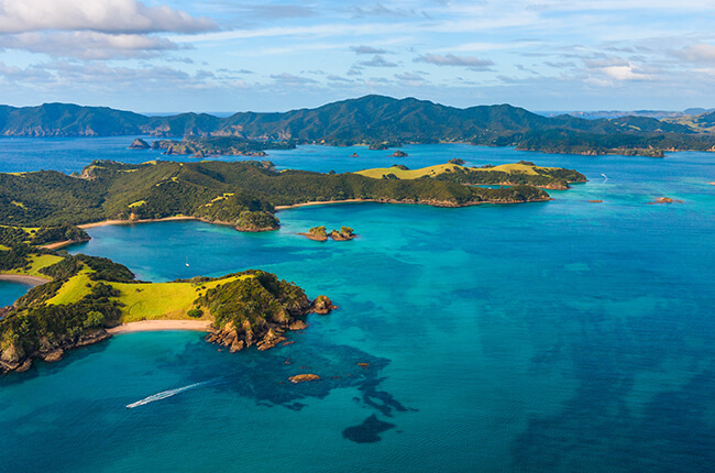 The vibrant greens and blues of the Bay of Islands and the surrounding waters from above