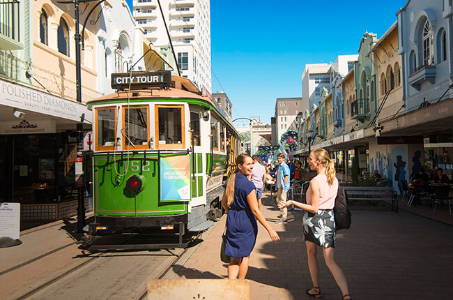 centre of Christchurch, with classic tram system and smalls shops on the high street
