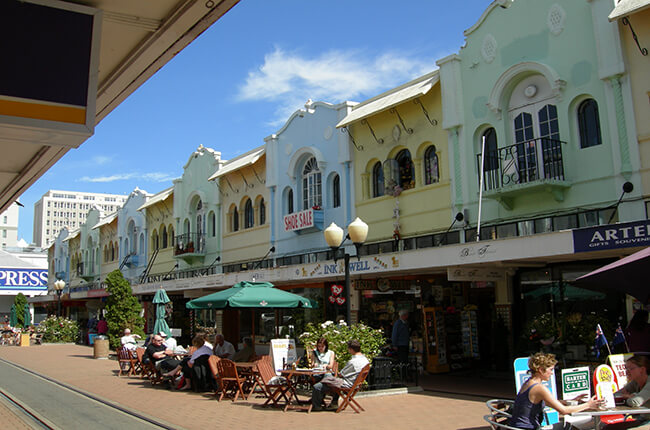 centre of Christchurch, with classic shops on the high street