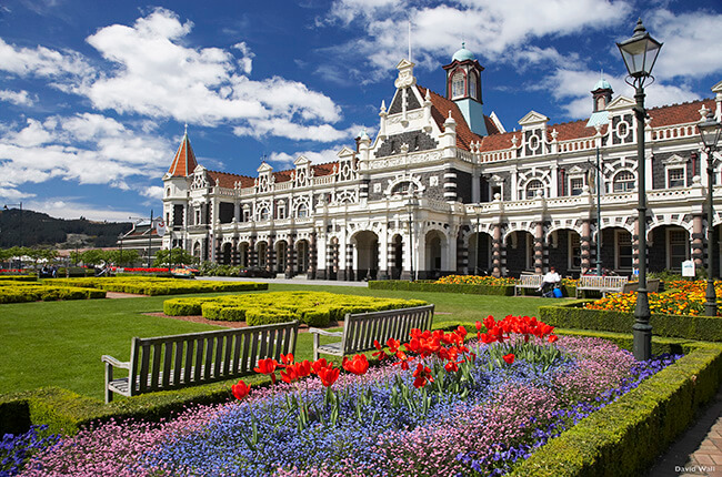 Dunedin railway station, with victorian era architecture