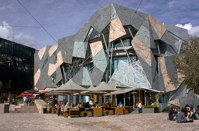 Close up of the neo-futuristic architecture of Federation Square in Melbourne