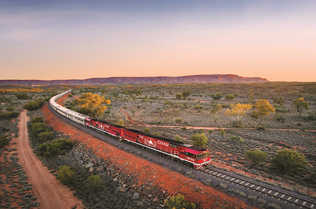 The Ghan train travelling through the arid outback