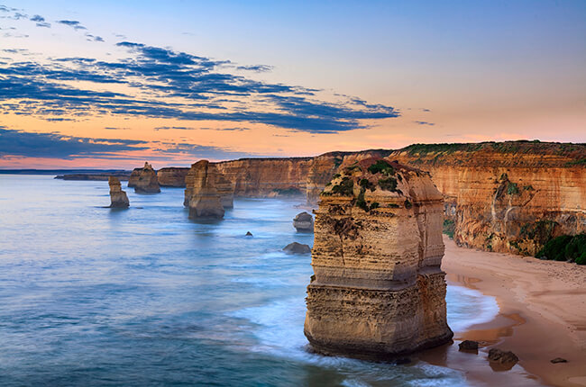 The coast of the Great Ocean Road with sandstone cliffs and islands