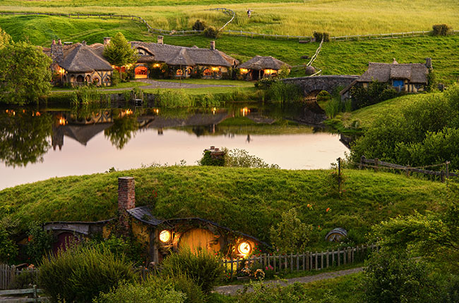 the Hobbiton village from the movie the Lord of the Rings