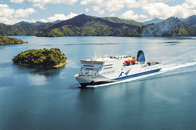 The large Interisland ferry travelling between the North and South islands of New Zealand