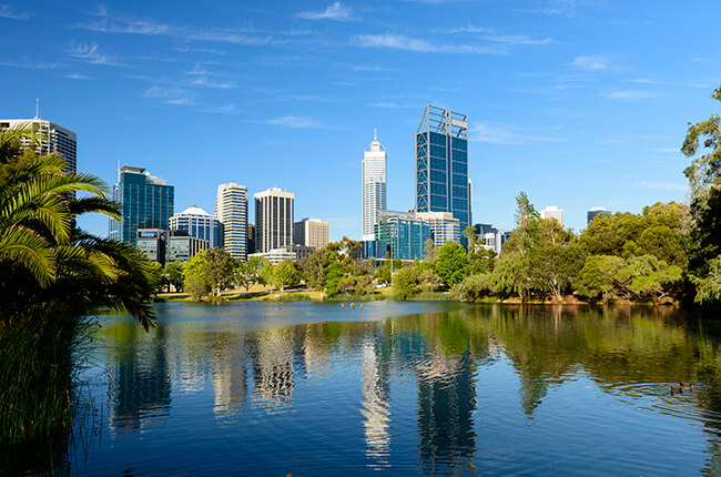 King's Park pond, with tranquil water reflecting the Perth skyline.