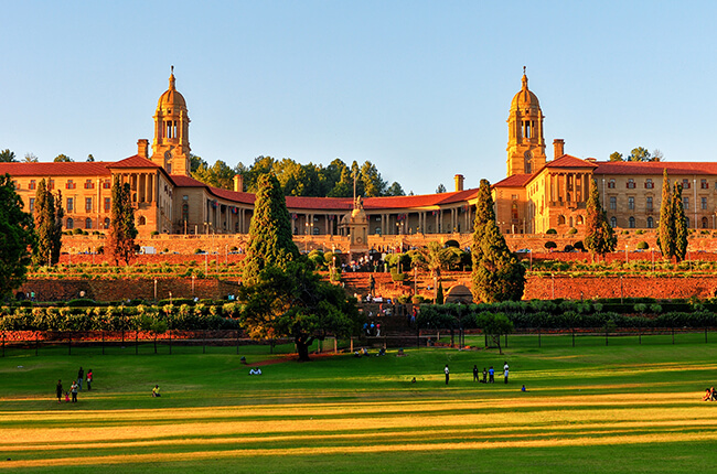 Pretoria Union Buildings at sunset
