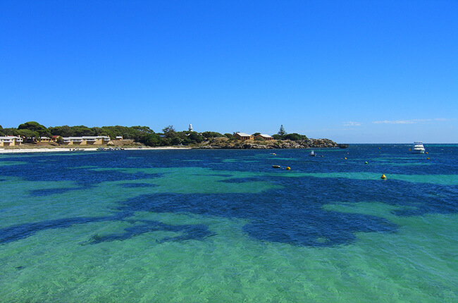 Coast of Rottnest Island, Australia, with varying green and blue water