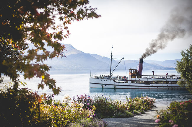 TSS earnslaw steamboat travelling through the lakes of Queenstown