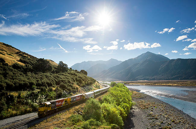 Famous TranzAlpine train travelling through the Canterbury Plains