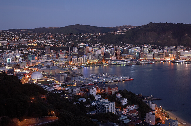 Wellington and the surrounding suburbs at dusk taken from afar on a hill.