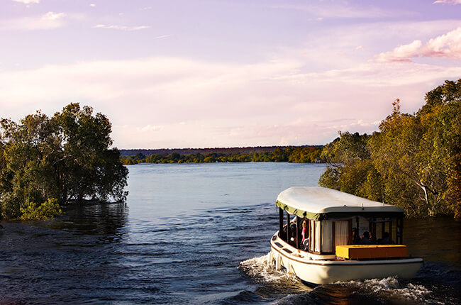 Small river cruise boat sailing through a small gap in trees on the Zambezi River
