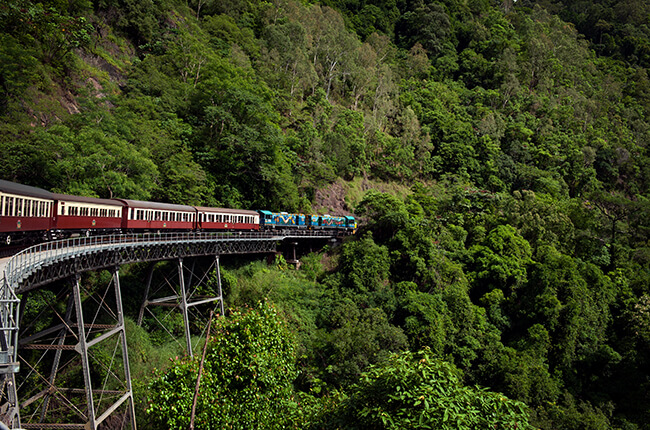 the Kuranda Rail train travelling on a bridge, surrounded by a steep valley full of dense vegetation