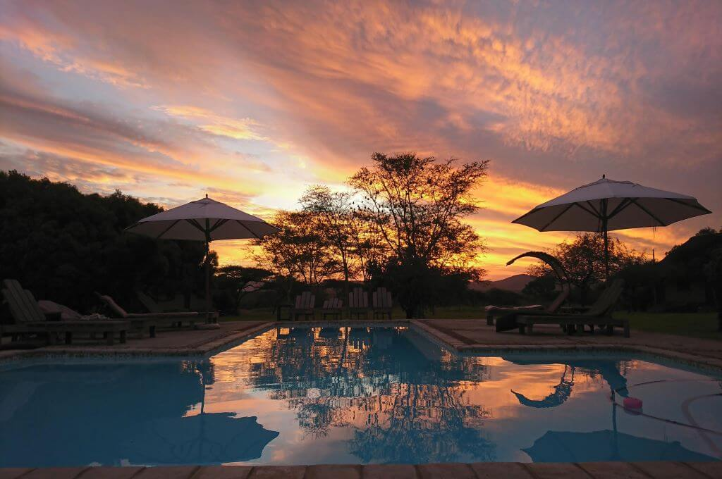 the pool at sunset at Bayala