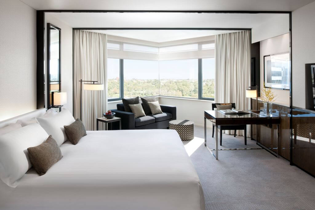 Guest room at the Crown Metropole in Perth
