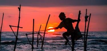 Stilt fisherman at sunset in the sea