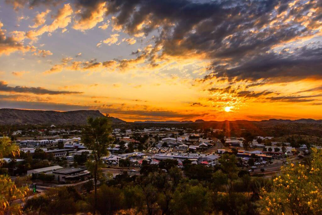aerial view of Alice Springs at sunset