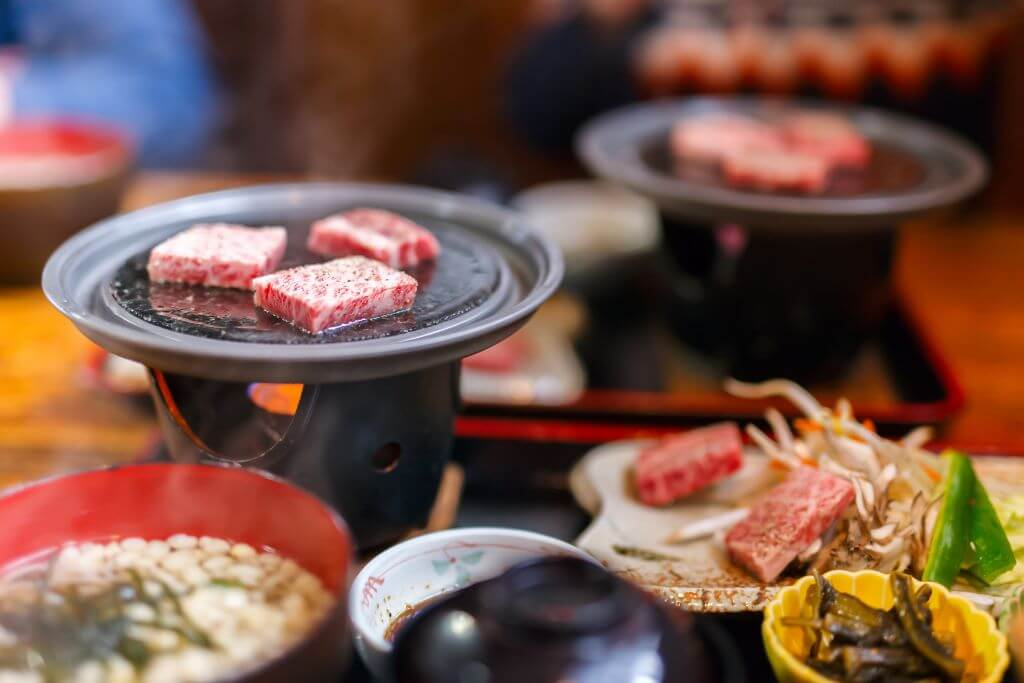 Japanese plates with Hida beef