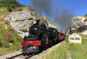 Weka Pass Railway train at Frog Rock