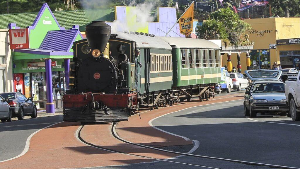 Train in street in Kawakawa Road Northland
