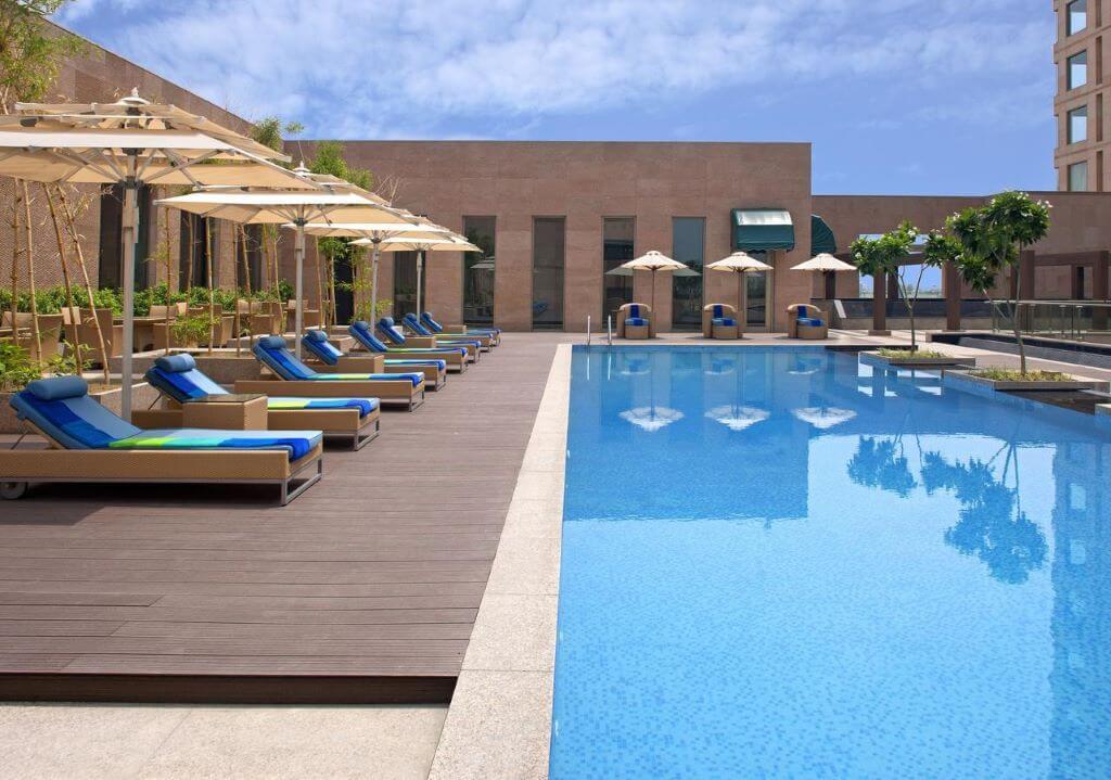 Radisson Blu Amritsar pool and sunlongers