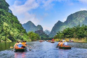 Boats paddling on river to Ninh Binh