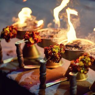 Flowers with fire for Aarti ceremony