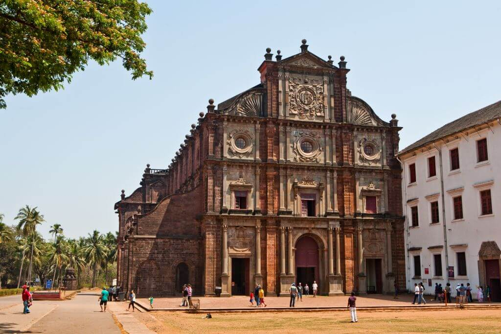 sunny exterior view of Bom Jesus Basilica Church in Goa India