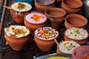 local delicacies in ceramic pots on Jaipur walking tour India