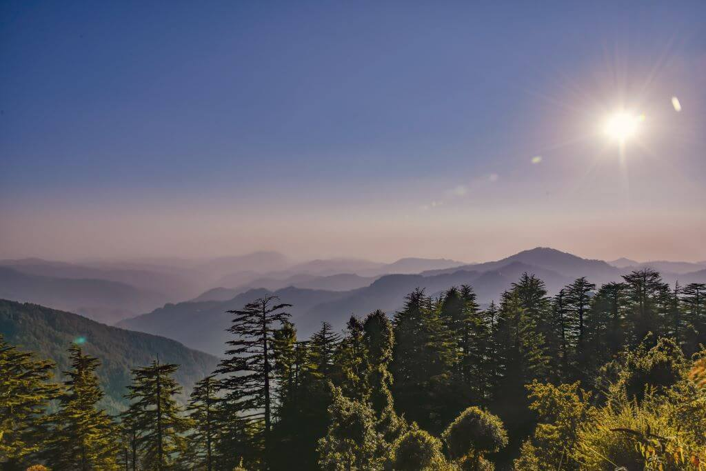 landscape view of forest and misty mountains with sun in Shimla India