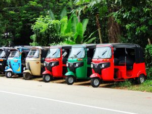 multicoloured Tuk Tuks lined up for safari in Galle Sri Lanka
