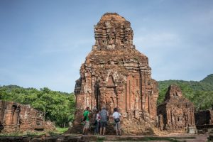 People in front of My Son temples in Hoi-An Vietnam
