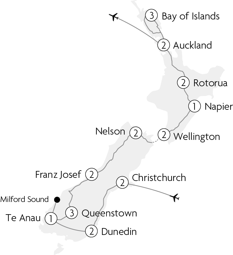 Map of Very Best of New Zealand tour