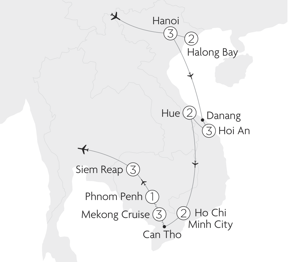Map of Very Best of Vietnam and Cambodia tour